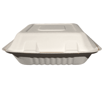 8x8 Bagasse Food Container - 3 Compartmen
