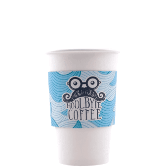 Custom Printed White Corrugated Coffee Sleeves
